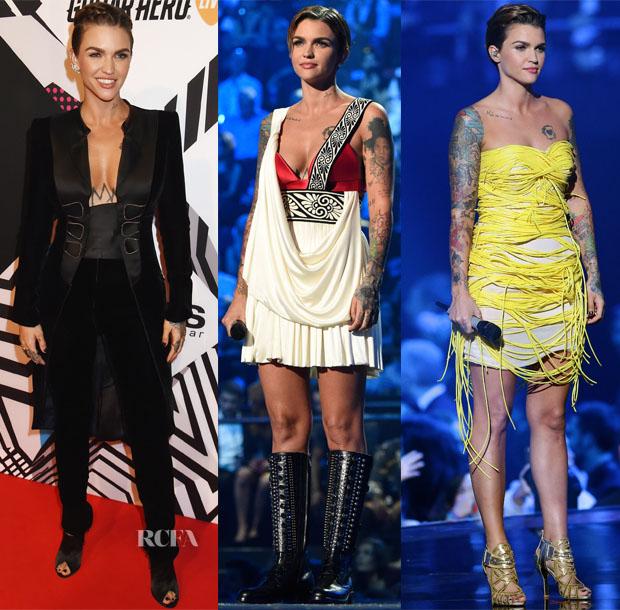 Ruby Rose In Armani Privé, Schiaparelli, Versus Versace & Fausto Puglisi - 2015 MTV EMA's