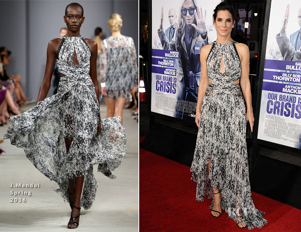 Sandra Bullock In J Mendel - 'Our Brand Is Crisis' LA Premiere