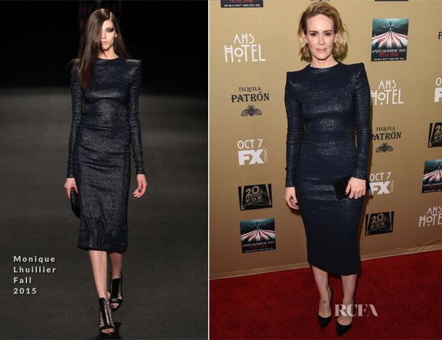 Sarah Paulson In Monique Lhuillier - 'American Horror Story Hotel' LA Premiere