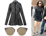 Selena Gomez' David Koma Macrame Black Dress & Dior Composit 1.0 Sunglasses