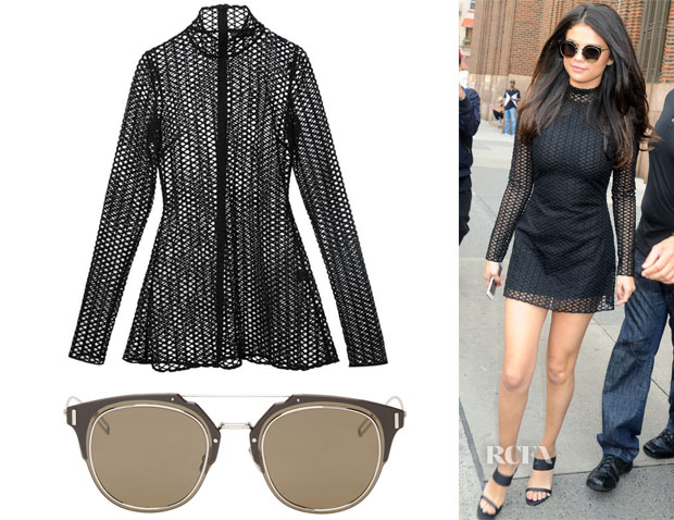 Selena Gomez' David Koma Macrame Black Dress & Dior Composit 10 Sunglasses