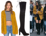 Shay Mitchell's For Love & Lemons Joplin Knit Cardigan & Stuart Weitzman Highland Boots