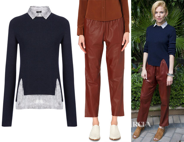 Sienna Miller Joseph Merinos and Stripe Crepe de Chine Sweater & Joseph Glove Leather Lou Lou Trousers2
