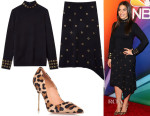 America Ferrera's Tory Burch Merino Grommet Turtleneck, Long Skirt & Kurt Geiger London 'Britton' Pump in Leopard Pony