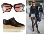 Behati Prinsloo's Elizabeth and James Bond Sunglasses & Stella McCartney Elyse lace-up platform shoes