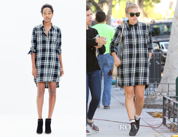 Busy Philipps' Madewell Flannel Daywalk Shirtdress in Glendale Plaid