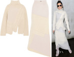 Cheryl Fernandez-Versini's Joseph Asymmetric contrast-knit wool turtleneck sweater & Skirt