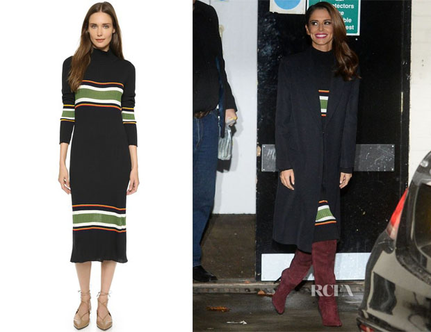 Cheryl Fernandez-Versini's Suno Thick Stripe Rib Knit Dress