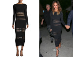 Chrissy Teigen's Self-Portrait Long-Sleeve Mesh-Trim Midi Dress