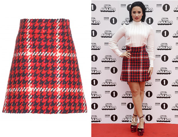 Demi Lovato's Miu Miu Check wool-blend skirt
