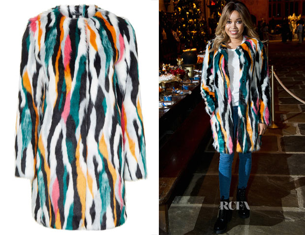 Dionne Bromfield's Topshop Multi-Coloured Faux Fur Coat