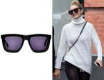 Gigi Hadid's Karen Walker Deep Worship Sunglasses & Tory Burch Sweater