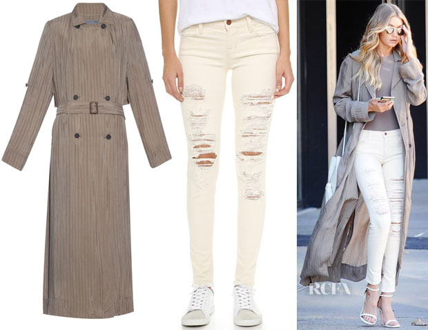 Gigi Hadid's Raquel Allegra Shadow-Stripe Long Trench Coat & J Brand 620 Mid Rise Super Skinny in Divo