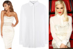 Gwen Stefani's House of CB Domenica Dogtooth Strapless Dress & Givenchy Silk Shirt