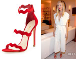 Gwyneth Paltrow's Prada Suede Triple-Strap Wavy Sandals