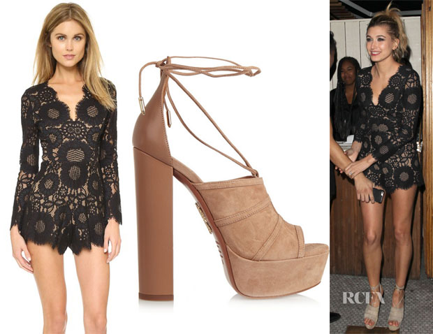 Hailey Baldwin's Alexis Ramzes Scalloped Romper & Aquazzura Very Eugenie Suede and Leather Sandals