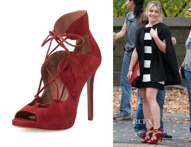 Hilary Duff Tabitha Simmons Reed Suede Lace Up Sandals
