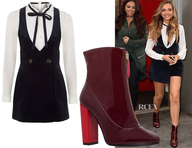 Jade Thirlwall's Topshop Two-in-One Velvet Cord Romper & Carvela Kurt Geiger Stephan Boots