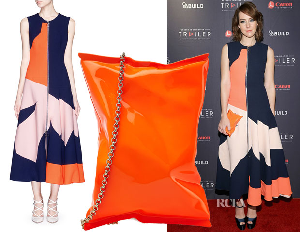 Jena Malone's Roksanda Celeste Geometric Panel Midi Flare Dress & Anya Hindmarch Crisp Packet Clutch