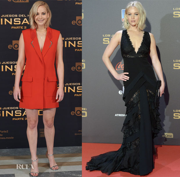 Jennifer Lawrence In Mugler & Ralph Lauren Collection - 'The Hunger Games Mockingjay - Part 2' Madrid Photocall & Premiere