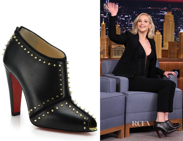 Jennifer Lawrence's Christian Louboutin Studded Leather Peep-Toe Booties