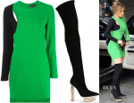 Jennifer Lopez's Versace Colour-Block Dress & Versace Over The Knee Platform Boots