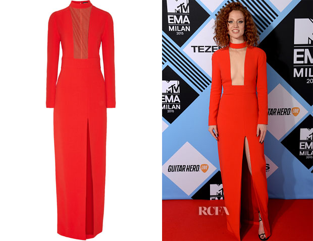 Jess Glynne's Tom Ford Mesh Paneled Stretch-Crepe Gown