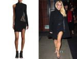 Jessica Simpson's Self-Portrait One-Sleeve Mesh-Trim Dress