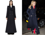 Kate Hudson's Chloé Navy Wool Double-Breasted Long Coat