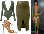 Keke Palmer's House of CB Lorenza Silk Jersey Deep V Bodysuit, House of CB Federica Vegan Leather Military Pencil Skirt & Chelsea Paris Snakeskin Ada Strappy Sandals