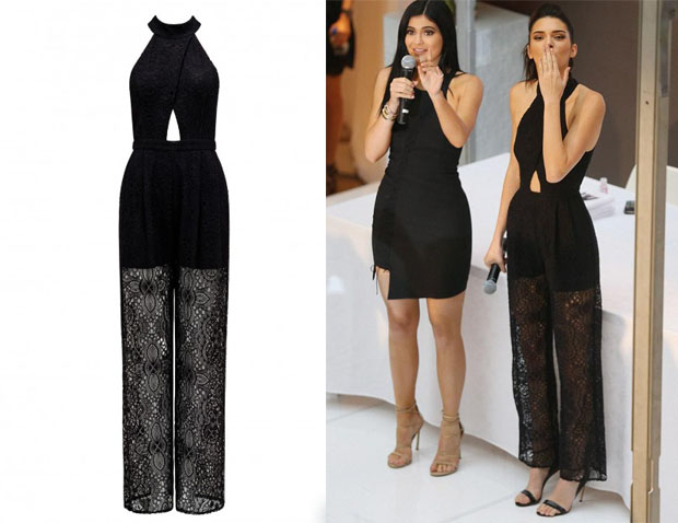Kendall Jenners Forever New Kylie Wide Leg Lace Jumpsuit Red