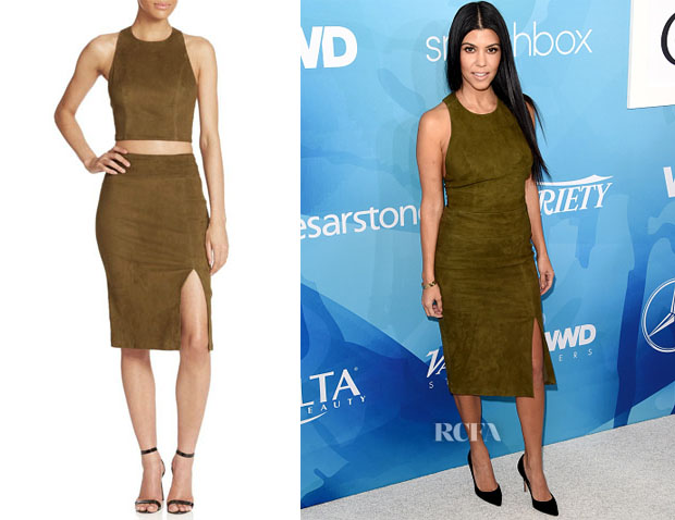 Kourtney Kardashian's Alice + Olivia Suede Cropped Top & Skirt
