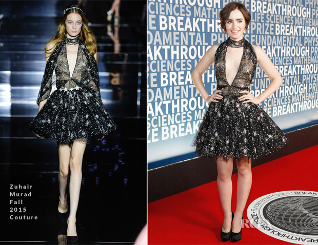 Lily Collins In Zuhair Muard Couture - 2016 Breakthrough Prize Ceremony