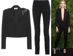 Lily Donaldson's Saint Laurent Spencer Crystal Snake Pinned Cropped Jacket & Saint Laurent Trousers