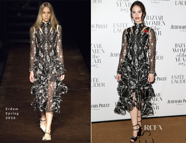 Lily James In Erdem - 2015 Harper's Bazaar Women of the Year Awards