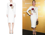 Mar Saura's Dolce & Gabbana 'I Love You Mamma' Rose Sequin Applique Wool Dress