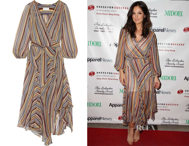 Minka Kelly's Zimmermann Ticking striped silk-crepe wrap midi dress