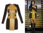 Nicki Minaj's Balmain Embellished Velvet Dress