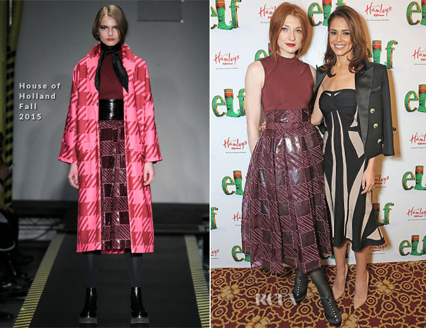 Nicola Roberts In House of Holland & Cheryl Fernandez Versini In Hervé Léger - 'Elf The Musical' Press Night