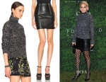 Nicole Richie's Marni Cashmere Sweater & Saint Laurent Leather Zipper Skirt