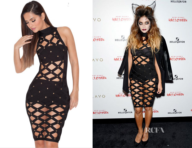 Nicole Scherzinger's House of CB Marikko Black Bandage Lattice Dress