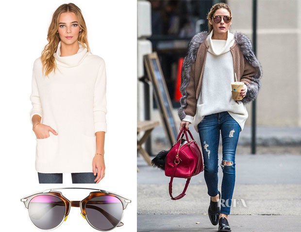 Olivia Palermo's Vince Front Pocket Turtleneck Sweater & Dior So Real Sunglasses