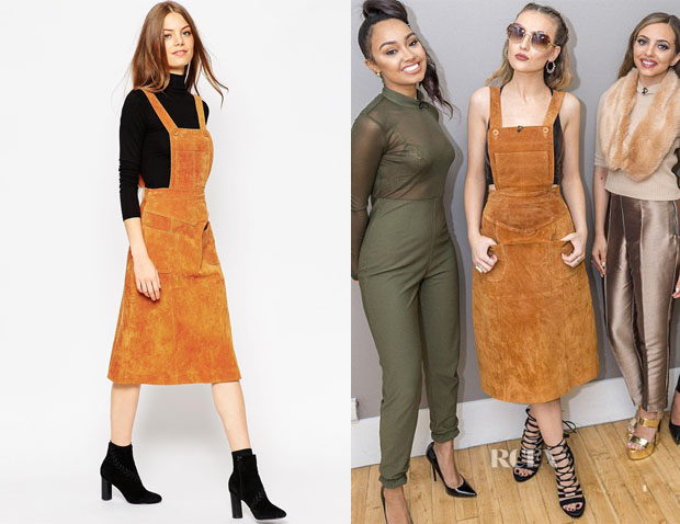 Perrie Edwards' ASOS Midi Skirt in Suede with Pinafore Bodice