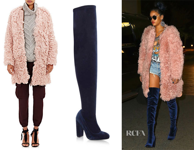 Rihanna's Ulla Johnson Fur Hawk Coat & Carvela Wolf Thigh High Boots