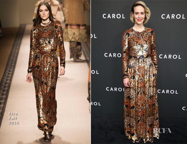 Sarah Paulson In Etro - 'Carol' New York Premiere