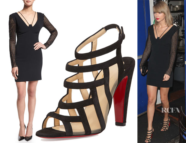 Taylor Swift's David Koma Macrame-Sleeve Cady Mini Dress & Christian Louboutin Nicobar Caged Sandals