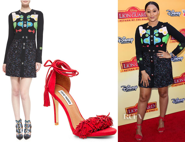 Tia Mowry-Hardrict's Peter Pilotto Counter Long-Sleeve Mini Dress & Steve Madden Sassey Fringe Sandals