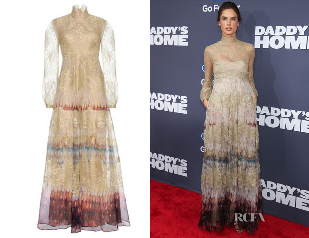 Alessandra Ambrosio's Valentino Printed and Lace Gown