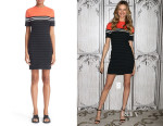 Behati Prinsloo's T by Alexander Wang Engineered Stripe Stretch Cotton Dress