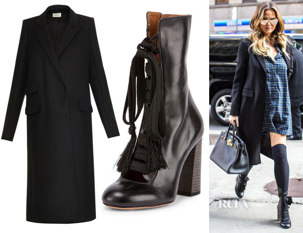 Chrissy Teigen's Mugler Peak-lapel wool-blend coat & Chloé Lace-Up Leather Boots